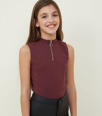 Girls Burgundy Zip Front High Neck Top