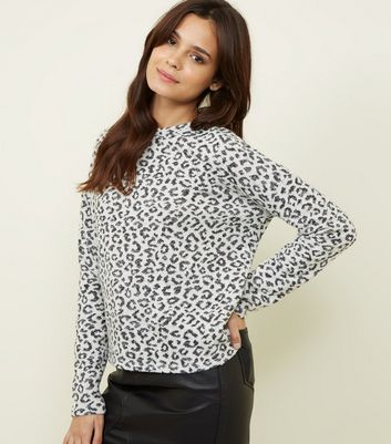 Off White Leopard Print Glitter Top