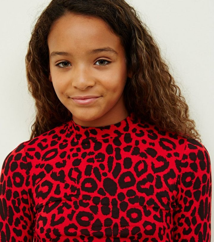eb188389a570d ... Girls Red Long Sleeve High Neck Leopard Print Top. ×. ×. ×. Shop the  look