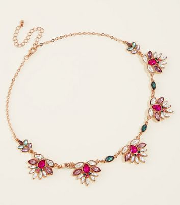 Gold Multi Coloured Jewel Short Necklace