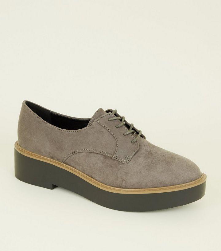 c38f330f593 Wide Fit Dark Grey Suedette Flatform Shoes