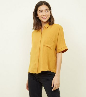 Yellow Pocket Front Boxy Shirt