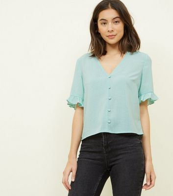 Mint Green Gingham Frill Sleeve Blouse