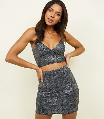 Black Metallic Glitter Mini Tube Skirt