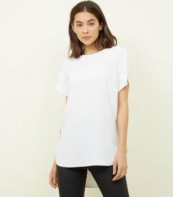 Off White Petal Sleeve Dip Hem Top