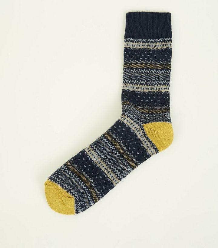 Yellow Fairisle Knit Pattern Thick Boot Socks | New Look