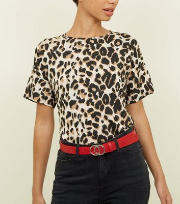 Brown Leopard Print Oversized T-Shirt