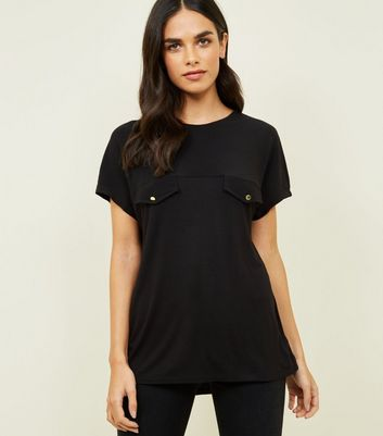 Black Crepe and Jersey Tab Front T-Shirt