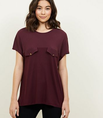 Burgundy Crepe and Jersey Tab Front T-Shirt
