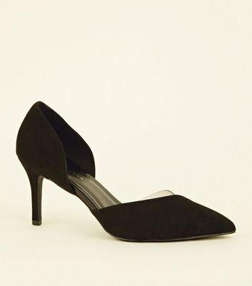 Wide Fit Black Suedette Clear Panel Courts