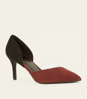Wide Fit Dark Red Suedette Clear Panel Courts