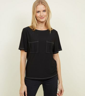 Black Contrast Stitch Pocket Front T-Shirt