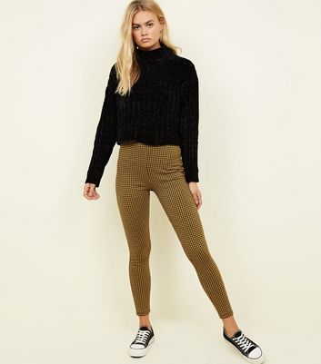 Mustard Houndstooth Check Leggings