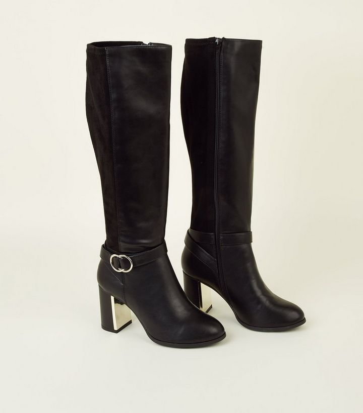 7413ff95c63 Black Extra Calf Fit Heeled Knee High Boots Add to Saved Items Remove from  Saved Items