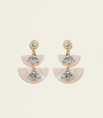 Pale Pink Jewel Embellished Resin Earrings