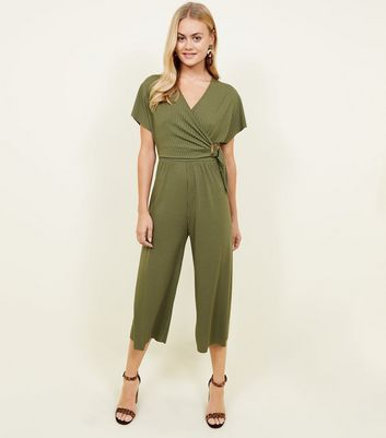 Khaki Ribbed Wrap Faux Horn Buckle Jumpsuit