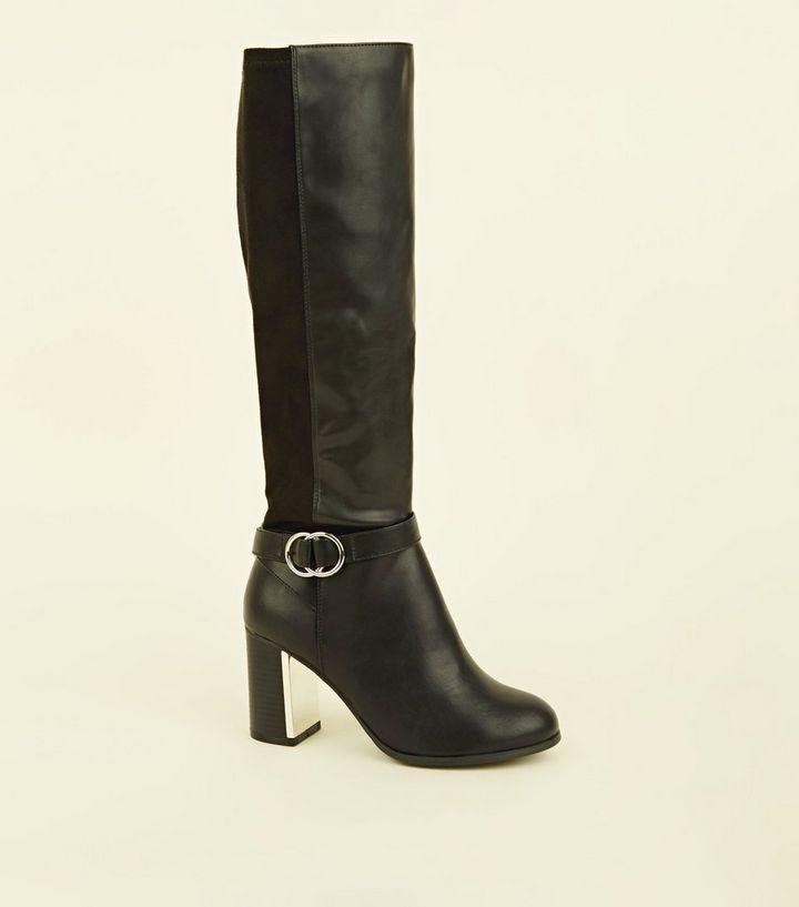 8d3d13cafa3 Wide Fit Black Metal Block Heel Knee High Boots