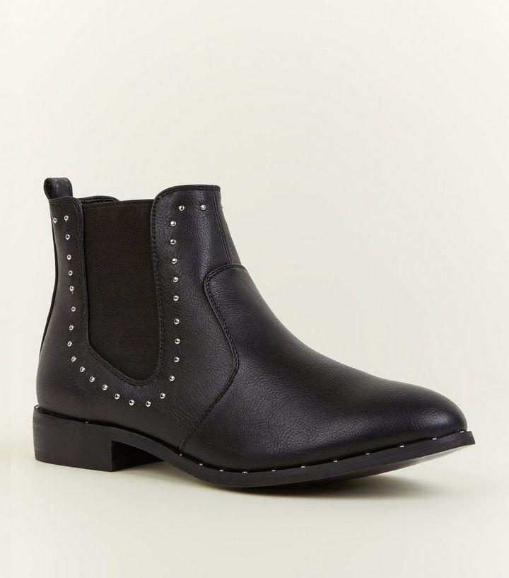 6da6be809bb5 Girls Black Studded Chelsea Boots