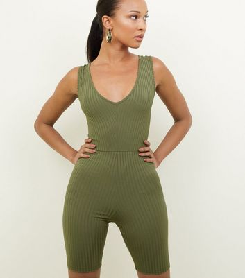 Khaki Ribbed Cycling Unitard Playsuit