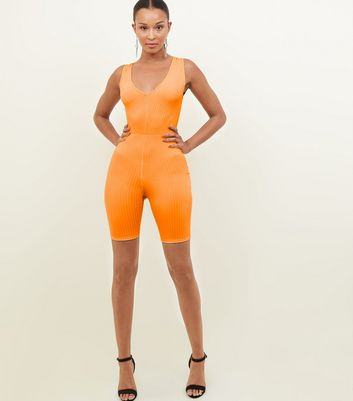 Orange Neon Ribbed Cycling Unitard Playsuit