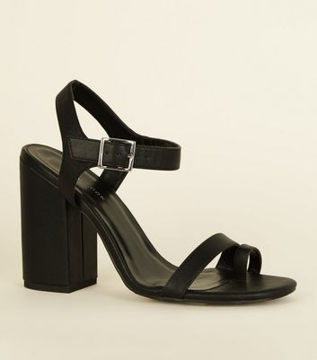 Black Leather-Look Toe Strap Heeled Sandals