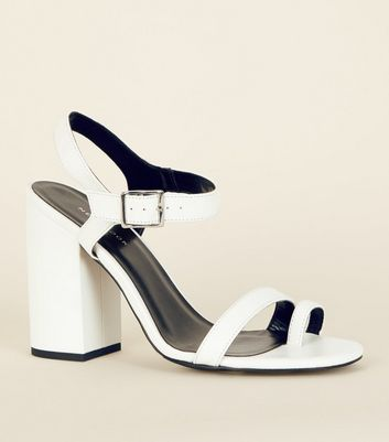 Off White Leather-Look Toe Strap Heeled Sandals