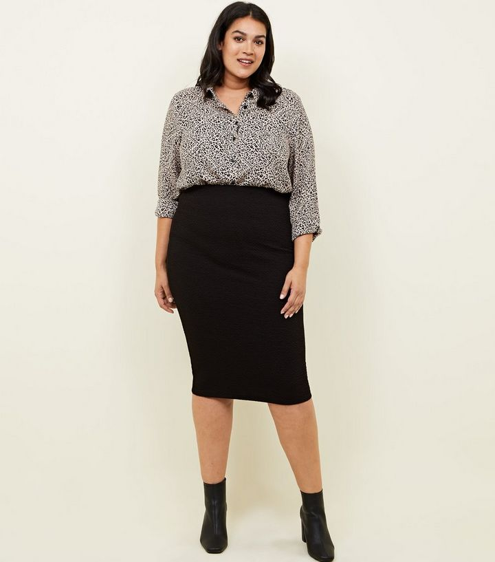 0ccbe4e3aa Curves Black Textured Jersey Pencil Midi Skirt | New Look