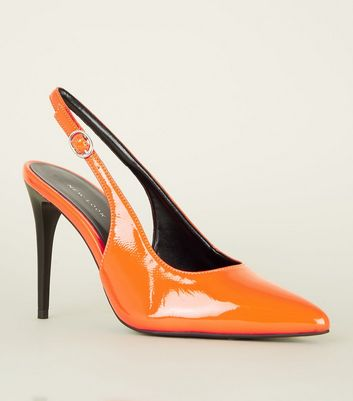 Orange Patent Slingback Court Shoes
