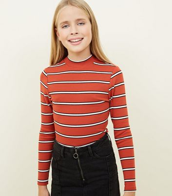 Girls Orange Stripe Funnel Neck Top