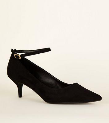 Black Suedette Ankle Strap Kitten Heels