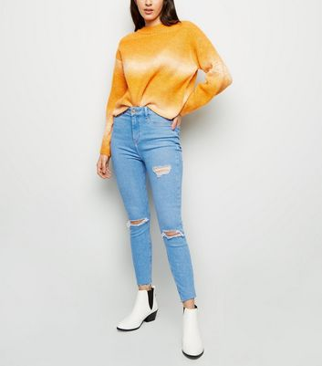 Blue Thigh Rip High Waist Super Skinny Hallie Jeans