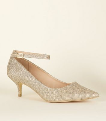 Wide Fit Gold Glitter Pointed Kitten Heels