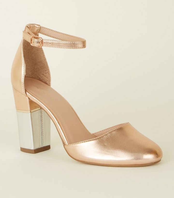 2db902d4e5923 Rose Gold Metallic Contrast Block Heels   New Look