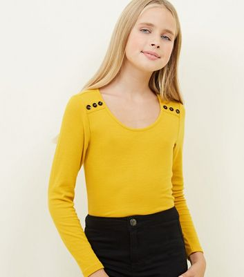 Girls Mustard Ribbed Button Shoulder Top