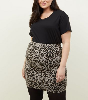 Curves Brown Leopard Print Tube Skirt