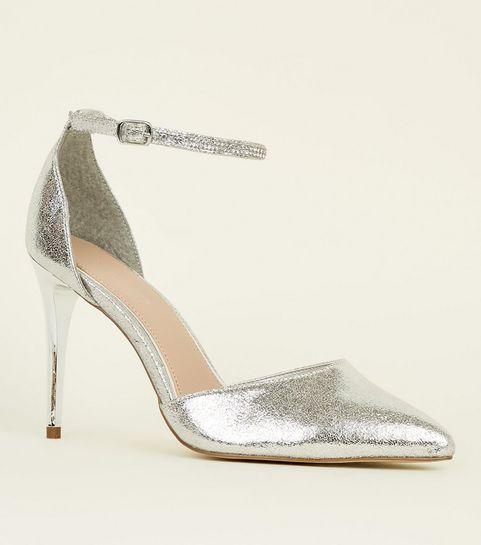 ef6dc9c50795 ... Silver Diamanté Strap Pointed Stiletto Heels ...