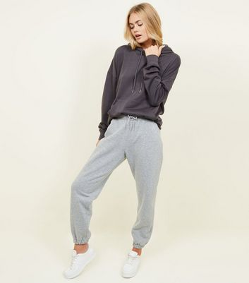 Grey Marl Elastic Cuffed Hem Joggers by New Look