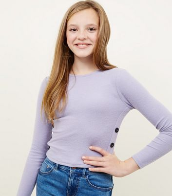 Girls Lilac Brushed Rib Button Side T-Shirt