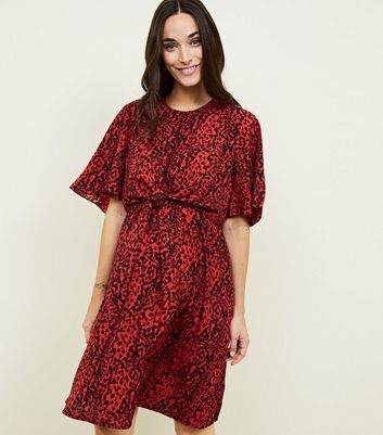 Maternity Red Animal Print Tie Front Dress