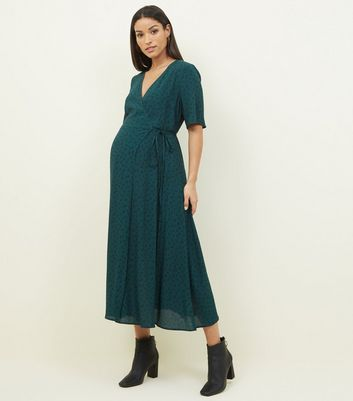 Maternity Dark Green Floral Midi Wrap Dress