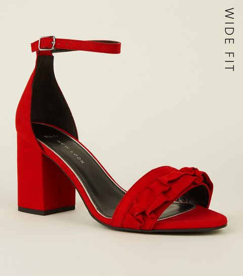 e1356690da7 ... Wide Fit Red Suedette Frill Front Block Heel Sandals ...