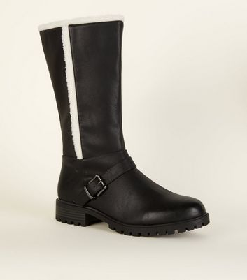 Wide Fit Black Leather-Look Shearling Biker Boots