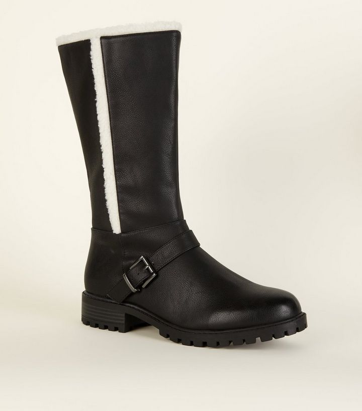 10f7d6b9538aa Wide Fit Black Leather-Look Shearling Biker Boots