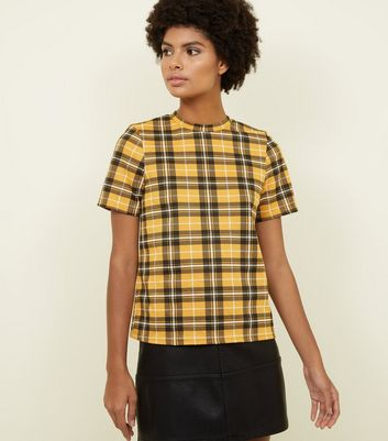 Mustard Check Print High Neck T-Shirt