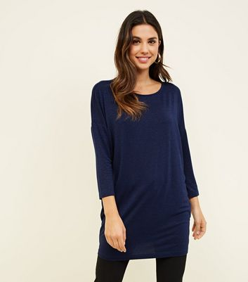Navy Glitter Stripe Oversized Top