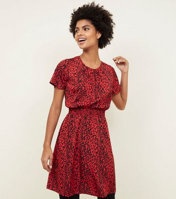 Tall Red Leopard Print Dress