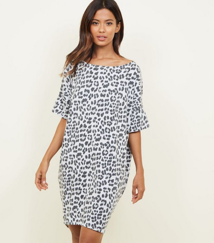 08acdaec5 Apricot Grey Leopard Print T-Shirt Dress | New Look