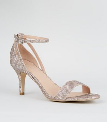 Wide Fit Rose Gold Glitter Covered Stiletto Heels