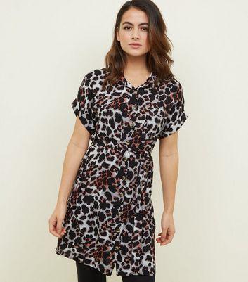 Petite Robe Chemise Gris Clair A Imprime Leopard New Look
