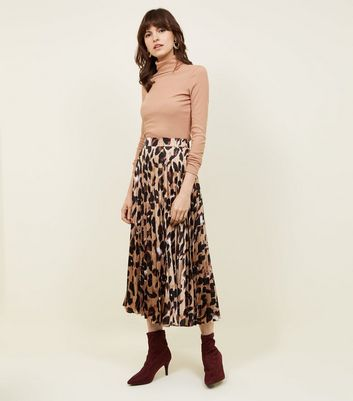 Brown Leopard Print Pleated Satin Midi Skirt